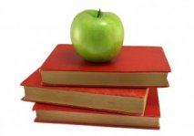 Green apple on books