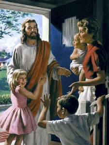 Mother and children with Jesus