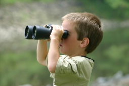 nature study with binoculars