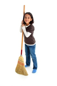 Girl  with a broom