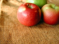 apples on a burlap bag